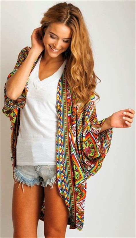 colorful kimono sweater kimono tribal pattern colorful drape coat