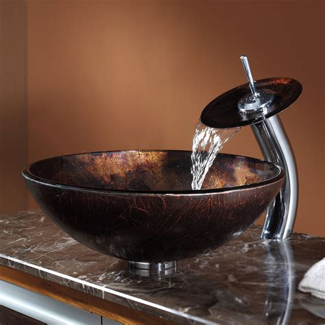 glass vessel sink with waterfall faucet glass vessel sinks with waterfall faucets