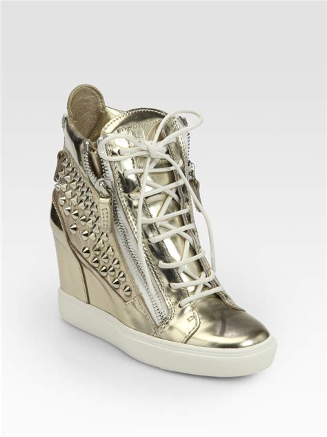gold giuseppe sneakers giuseppe zanotti platino studded metallic leather wedge