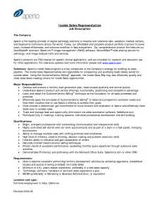 Inside Sales Manager Description by Inside Sales Representative Resume Exles Inside Sales