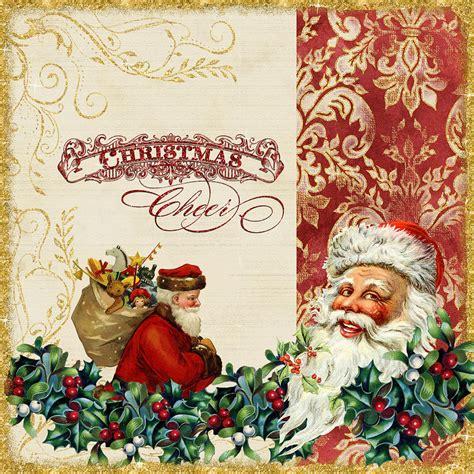 vintage santa claus vintage santa claus glittering 5 painting by
