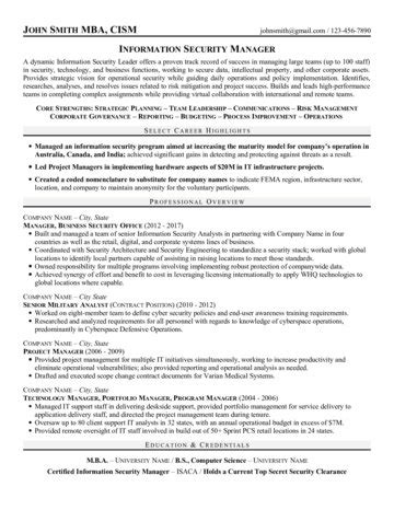 security manager resume sles information security manager resume