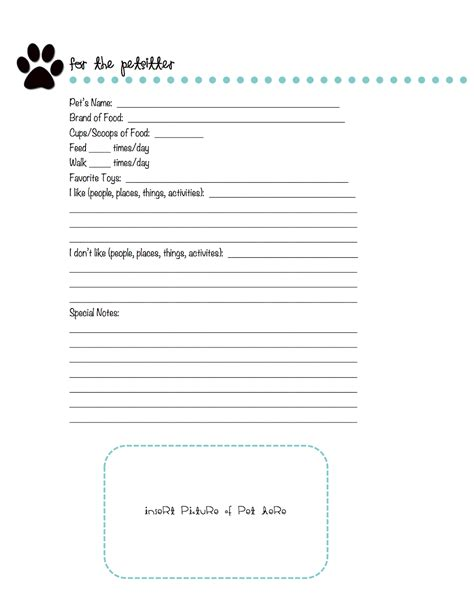sitting template in progress free printable pet sitting