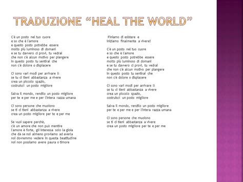 testo heal the world di michael jackson estetica dell amicizia ppt scaricare