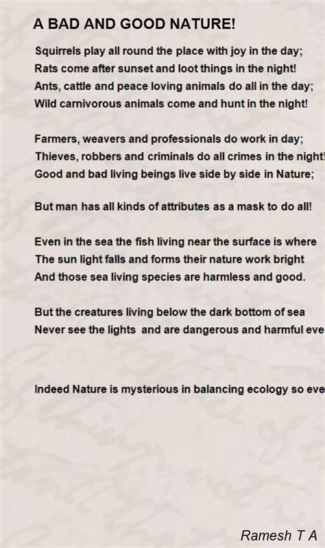 a guide to good bad and great nature inspired baby names bad and good nature poem by ramesh t a poem hunter
