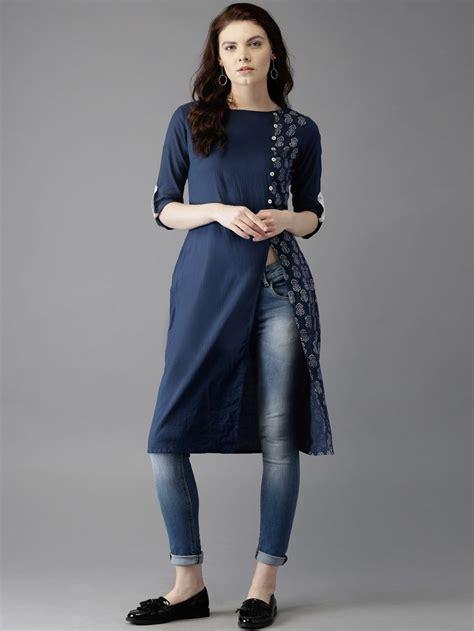 blue kurta pattern moda rapido navy blue cotton printed kurta women s kurti
