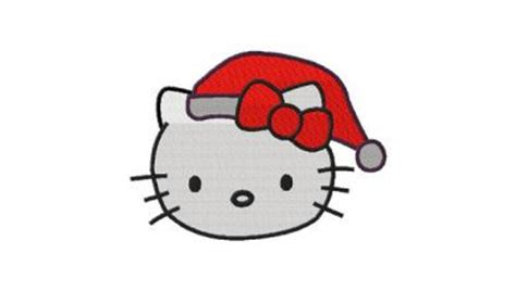 hello kitty christmas santa hat machine embroidery