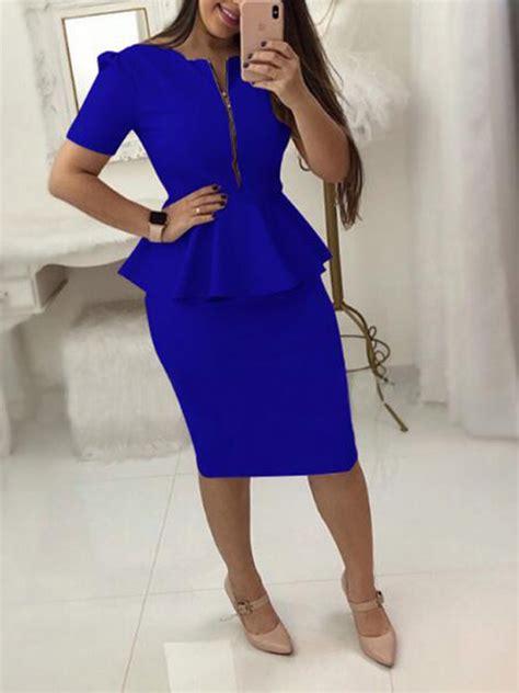 blue ruffle zipper short sleeve peplum  size office