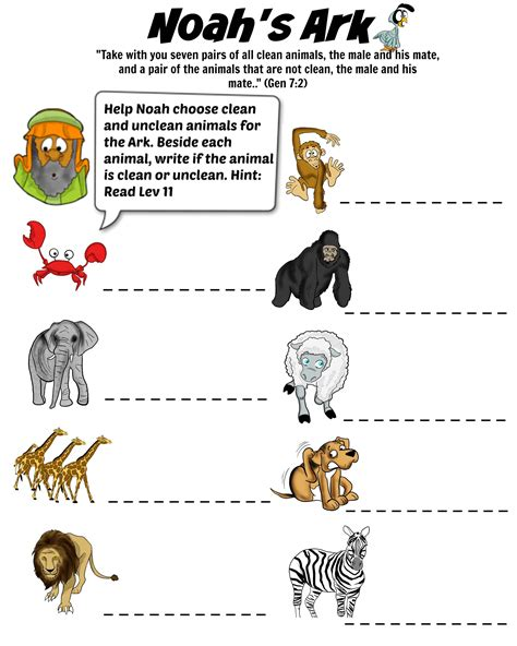noah s ark puzzle clean and unclean animals free download