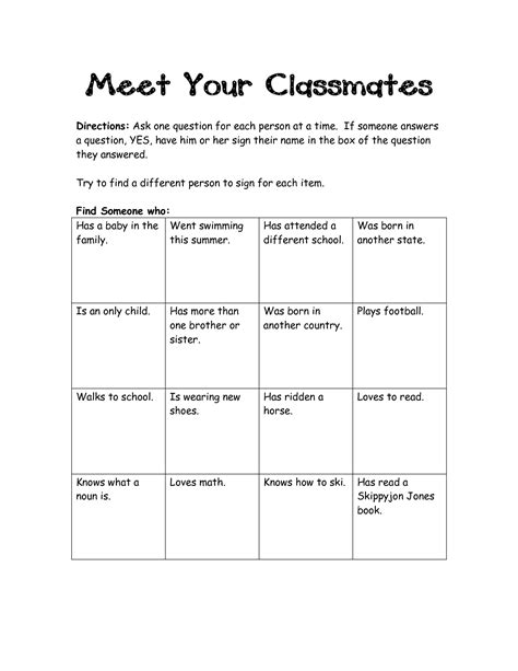 Scavenger Hunt Worksheet
