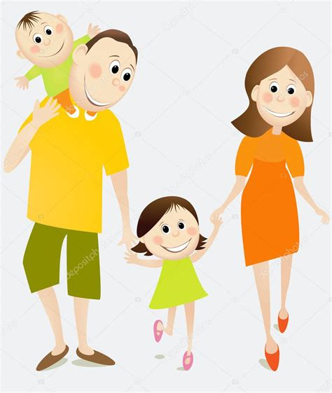 Happy Family 3 Karakter familia feliz de dibujos animados vector de stock