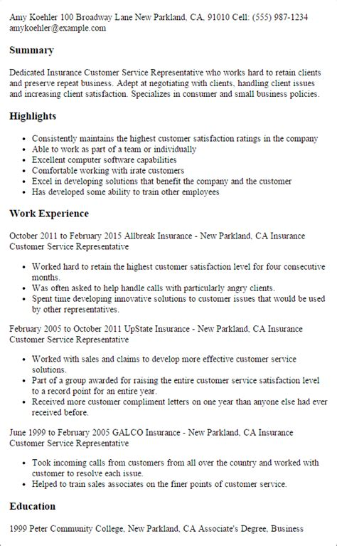 insurance resume template professional insurance customer service representative