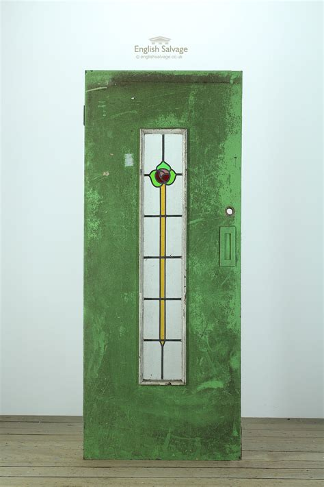 art deco stained glass wooden door