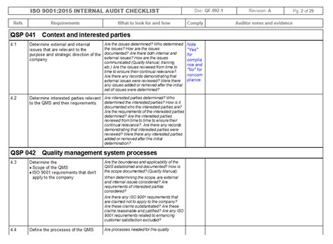 Iso 9001 Checklist Template by Quality Management System Audit Checklist Iso