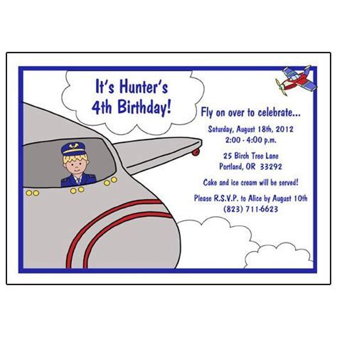 Airplane Pilot Birthday Party Invitation ? Mandys Moon