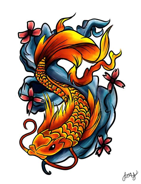colour tattoo designs koi fish on leg by chris garver