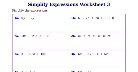 Simplify Expressions Worksheet by Homeschool Math Worksheets For Simplifying Expressions