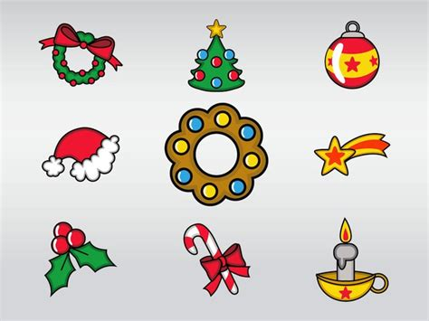set of christmas decoration vector free download