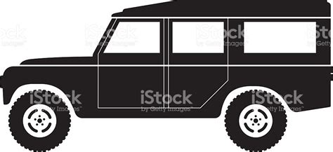 land rover defender vector silhouette of an old car on a white background stock
