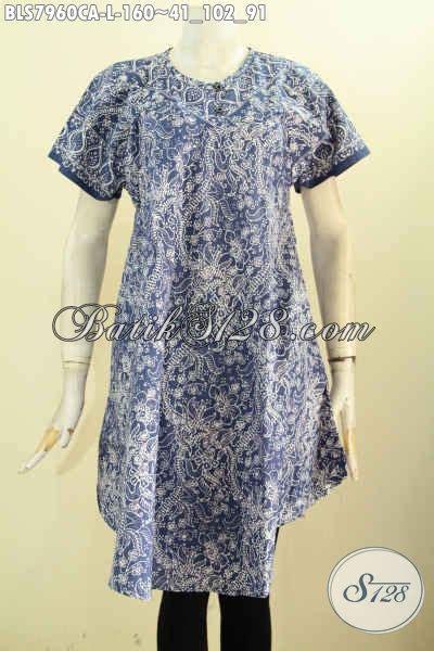 California Kancing koleksi terkini busana batik wanita trendy pakaian batik tanpa krah dengan kancing depan bahan