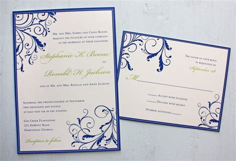 design invitation on mac royal blue apple green swirly vine wedding invitations
