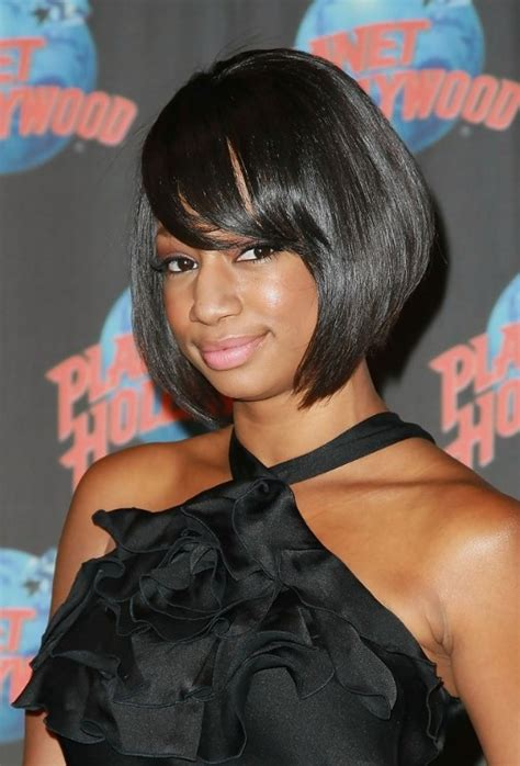 black women hair styles with bob and bang short black sleek bob hairstyle with bangs for african