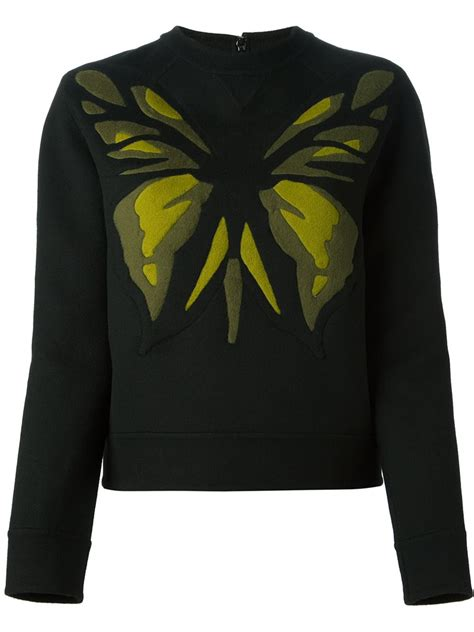 Valentino Black 3229 valentino butterfly intarsia sweater in green black lyst