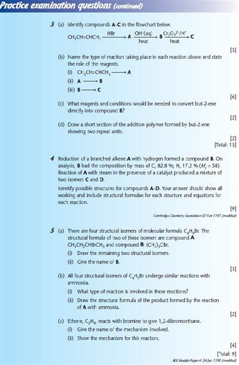 chemistry tutorial questions practice examination questions 2 a2 level level revision