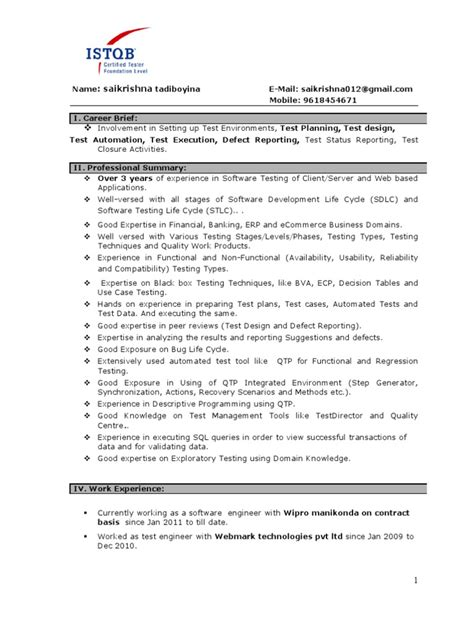 software testing resume sles for experienced manual testing experienced resume 1