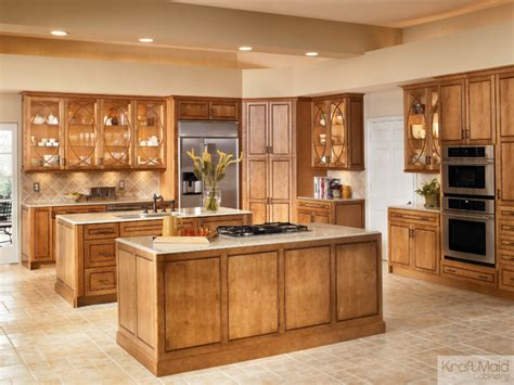 Tall Kitchen Island by Kraftmaid Maple Square Raised Door In Praline With Mocha