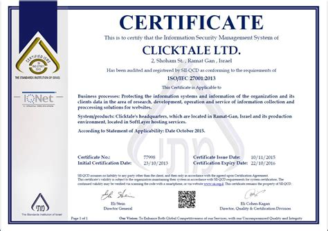 Or Certification Clicktale Iso 27001 Certification