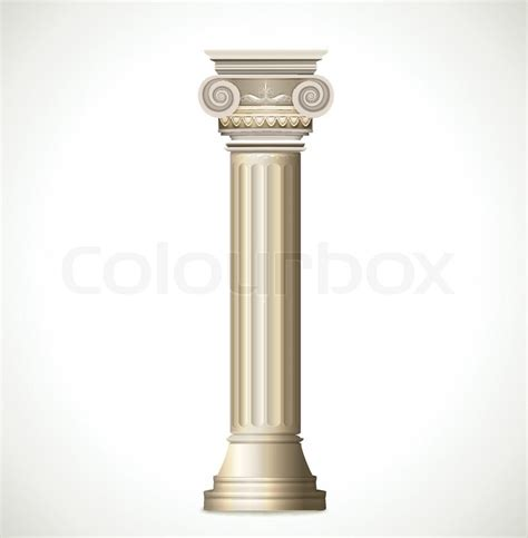 Marble Temple Home Decoration by Greek Column Isolated On White Background Vector