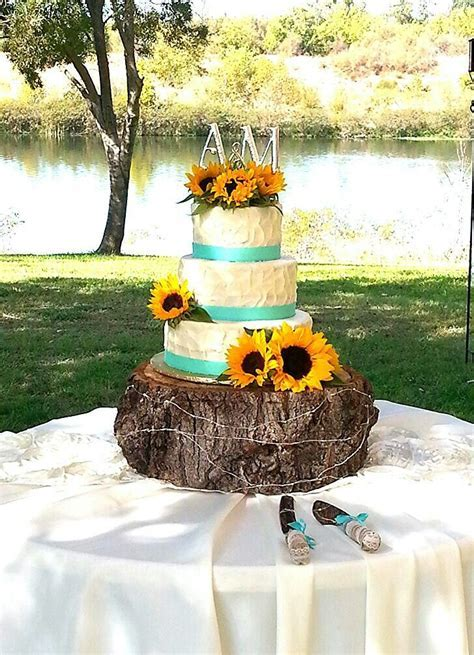 Sunflower and teal wedding cake   My cakes in 2019