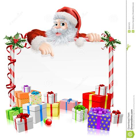 santa christmas gifts sign stock vector image of father