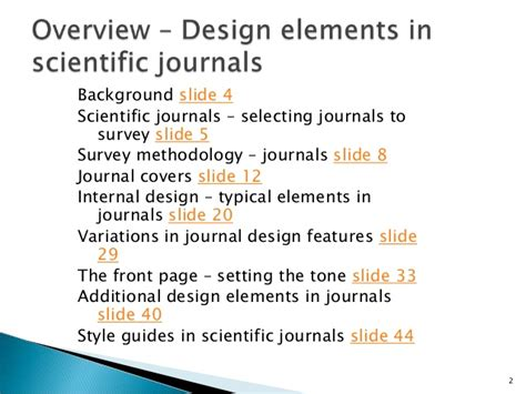 design scientific journal survey of design features in selected scientific journals