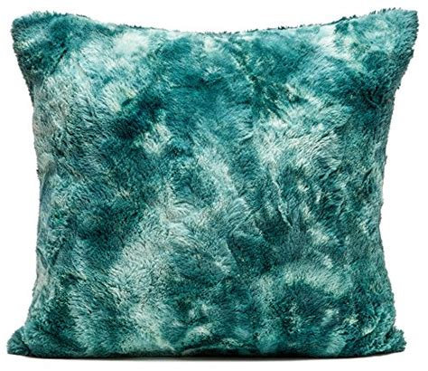Teal Fluffy Pillow Chanasya Soft Fuzzy Faux Fur Cozy Warm Fluffy Teal
