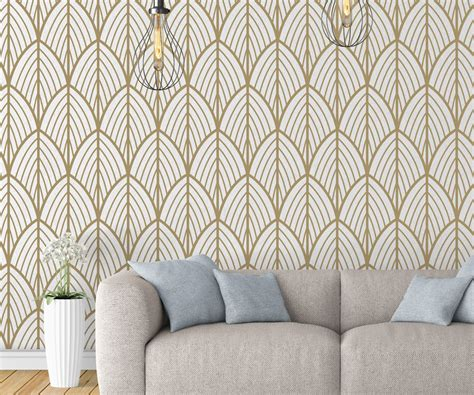 art deco leaves removable wallpaper moonwallstickerscom