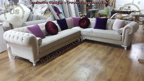 velvet l shaped sofa velvet chesterfield style corner sofa purple modern