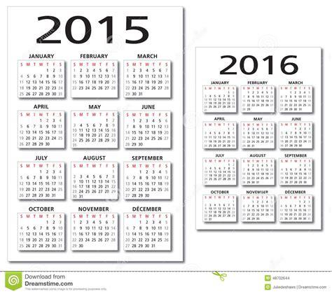 Calendrier Janvier 2016 Avec Numéro De Semaine Vecteur Anglais Du Calendrier 2015 2016 Illustration Stock