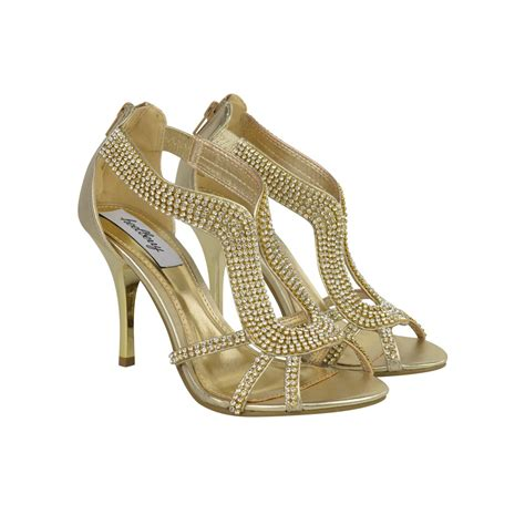 high heels gold gold metallic diamante high heels glam