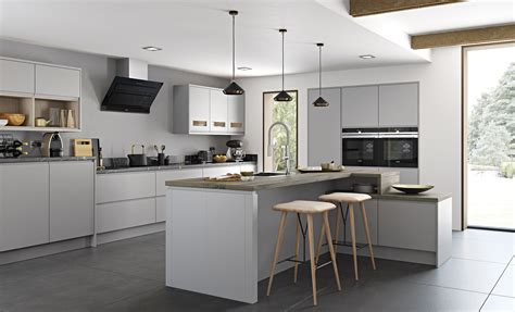 Pictures Of Kitchen Cabinets With Handles by Strada Matte Contemporary Light Grey Kitchen Stori