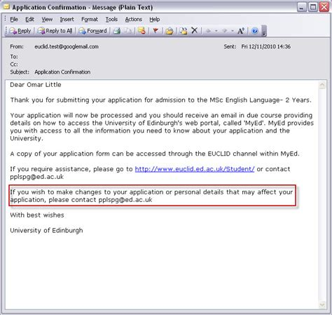 application update email application letter