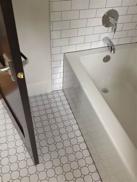 hexagon tiles with subway   crisp and clean. Appropriate