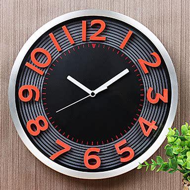 3d Wall Clock Jam Dinding fesyen moden 12 logam jam dinding pusingan jam dinding tak bersuara jam aloi oren nombor merah