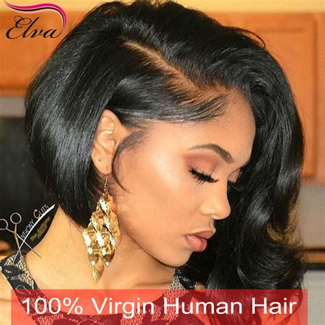 short in back long in front wigs 7a full lace human hair wigs with babyhair human hair lace