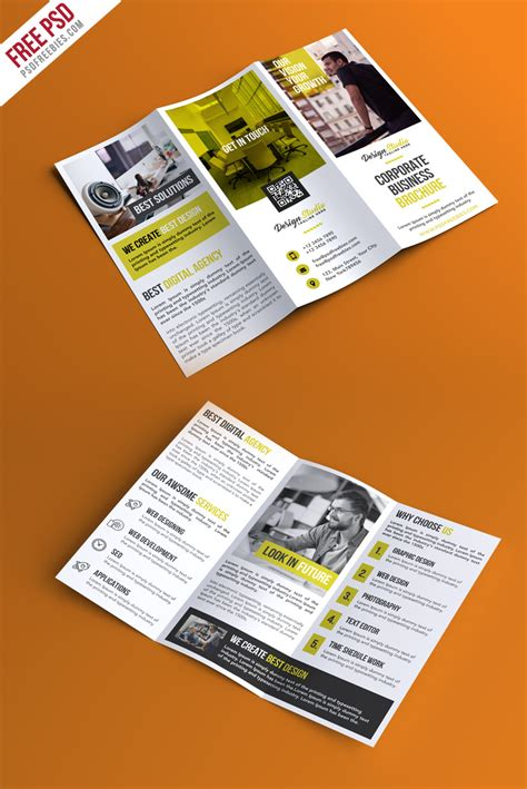 photoshop template brochure professional trifold brochure psd template psdfreebies