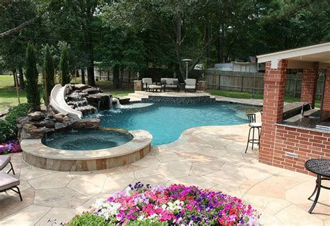 Backyard Swimming Pools With Slides For The Pool Backyard Pool With Slide