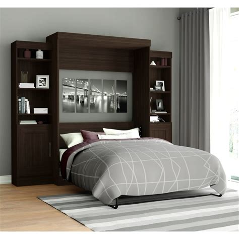 full wall bed bestar edge full wall bed with storage in dark chocolate