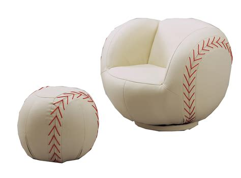 baseball and ottoman set crown mark kids sport chairs baseball swivel