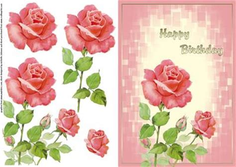 free printable birthday cards roses pink roses happy birthday card front with decoupage